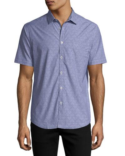 Chevron Gingham Short-Sleeve Cotton Shirt