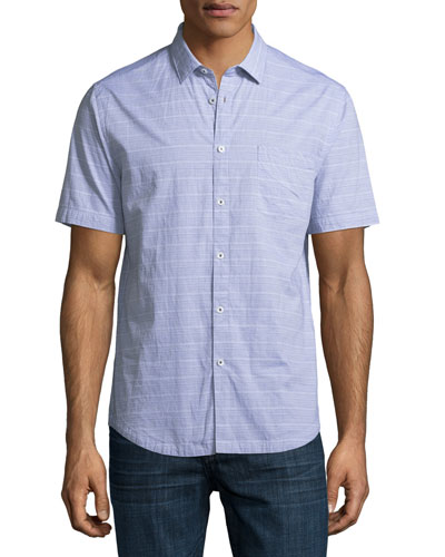 Mini Striped Short-Sleeve Cotton Shirt