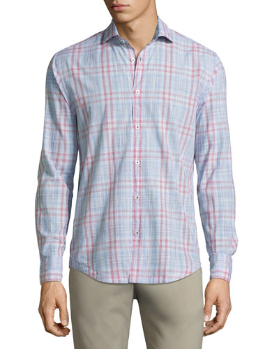 Malibu Plaid Cotton Shirt, Red
