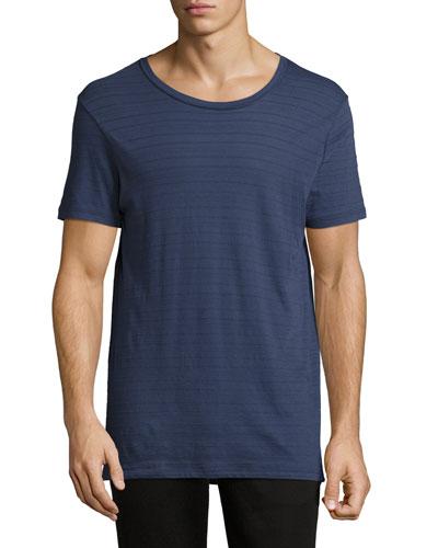 Jacquard Stripe Crewneck T-Shirt, Navy