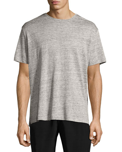 Linen Relaxed-Fit Crewneck T-Shirt, Light Gray