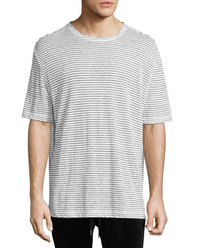 Striped Linen Relaxed-Fit T-Shirt, Black/White