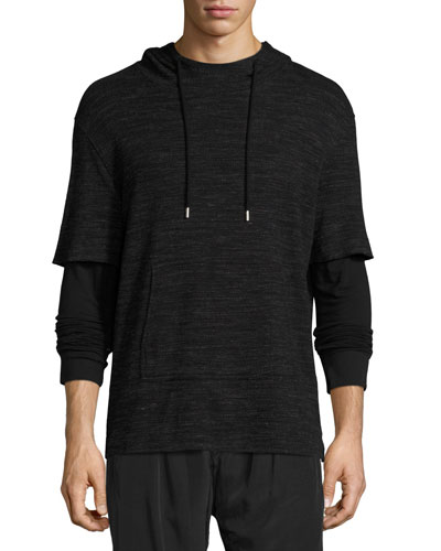 Mixed-Media Double-Sleeve Hoodie, Black