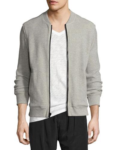 Thermal Waffle-Knit Bomber Jacket, Medium Gray