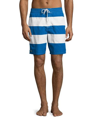 Striped Swim Trunks, Blue/White
