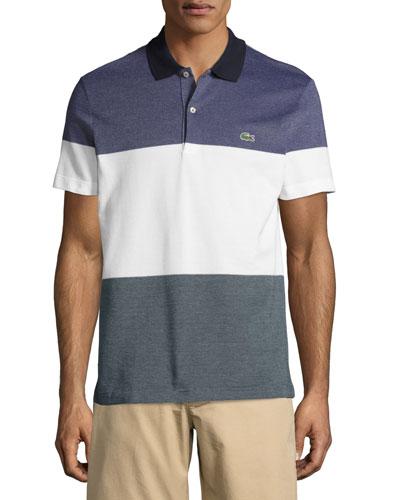 Piqué Textured Colorblock Polo Shirt, Blue