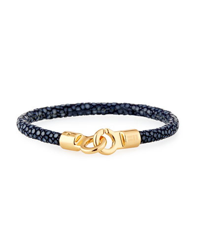 Men's Stingray Shagreen Bracelet, Navy/Golden