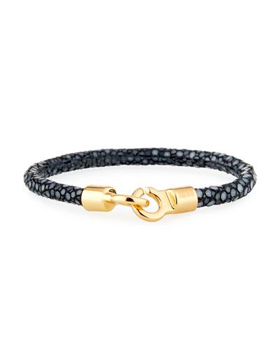 Men's Stingray Shagreen Bracelet, Black/Golden