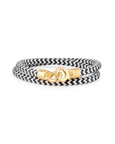 BRACE HUMANITY Men'S Double Tour Braided Wrap Bracelet, Black/White/Golden