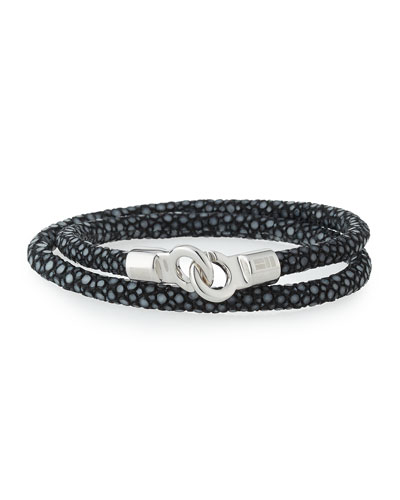 Men's Stingray Wrap Bracelet, Black/Silver