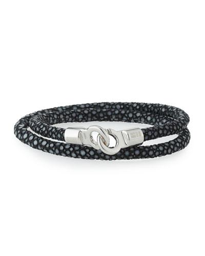 BRACE HUMANITY Men'S Stingray Wrap Bracelet, Black/Silver