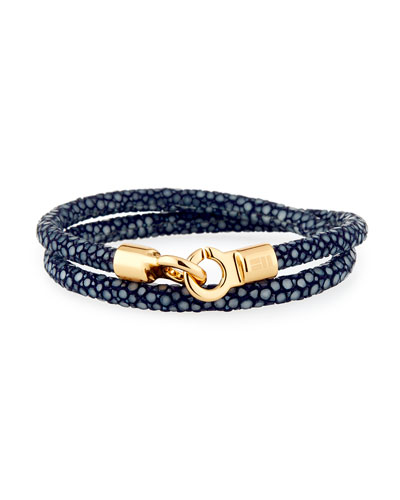 Men's Stingray Wrap Bracelet, Navy/Golden