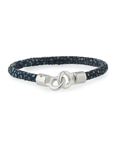 Men's Stingray Shagreen Bracelet, Navy/Silver