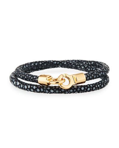 Men's Stingray Wrap Bracelet, Black/Golden