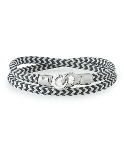 Men's Double Tour Braided Wrap Bracelet, Black/White/Silver