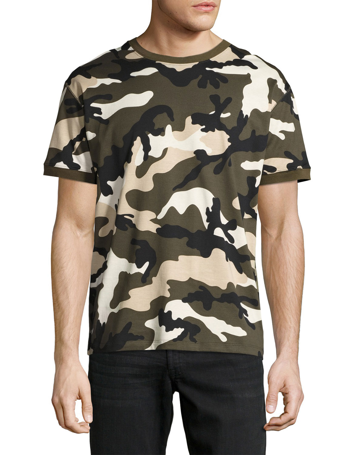 Camouflage Jersey Ringer T-Shirt, Green