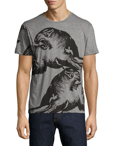 Panther-Print Crewneck T-Shirt, Gray