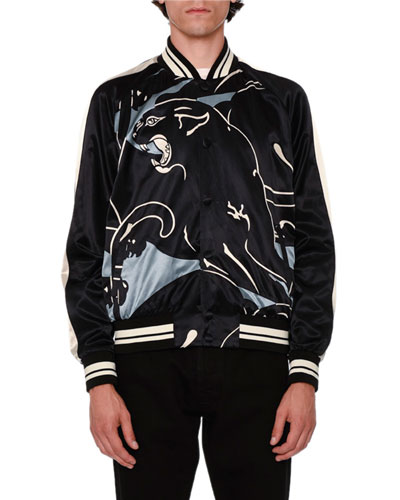 Panther Souvenir Satin Bomber Jacket, Gray