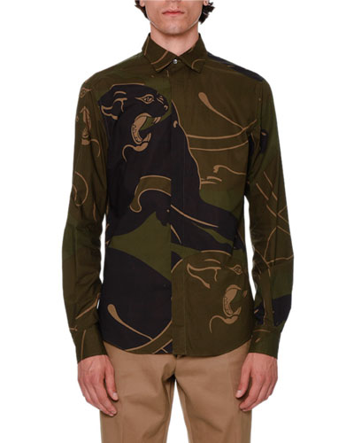 Camo Panther Button-Front Shirt, Khaki