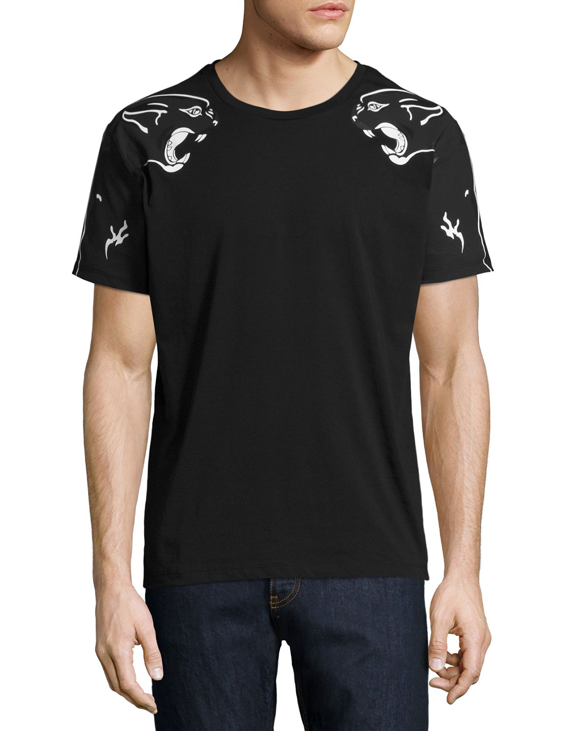 Panther-Print T-Shirt, Black