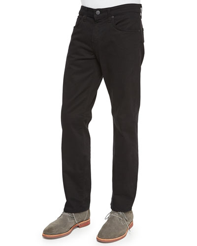 Kane Straight-Leg Twill Pants, Charcoal