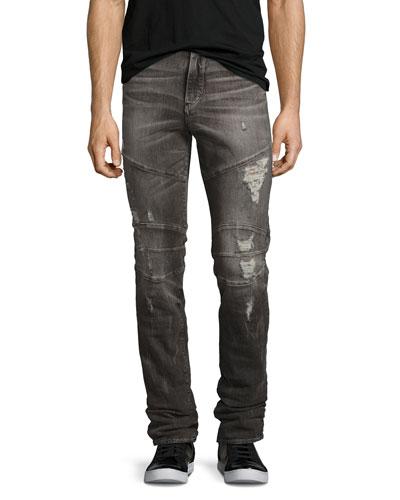 Rocco Simple Moto Skinny Jeans, Gray