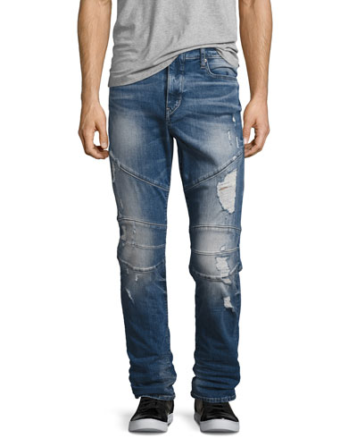 Geno Simple Moto Slim-Straight Jeans, Blue