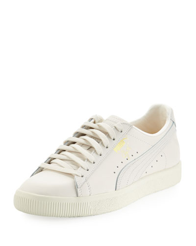 Men's Clyde Leather Low-Top Sneaker, Natural (White)