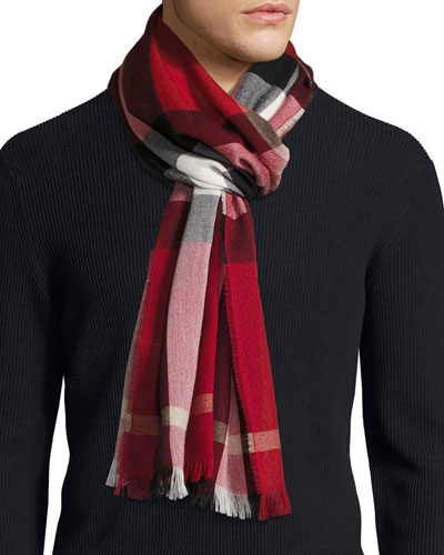 Check Cashmere-Wool Scarf, Red