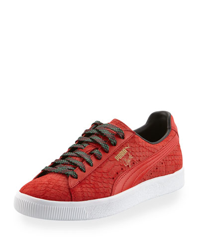 Men's Clyde GCC Snakeskin-Embossed Leather Low-Top Sneaker, Red