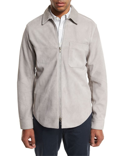 Neo Suede Zip-Front Shirt Jacket, Gray