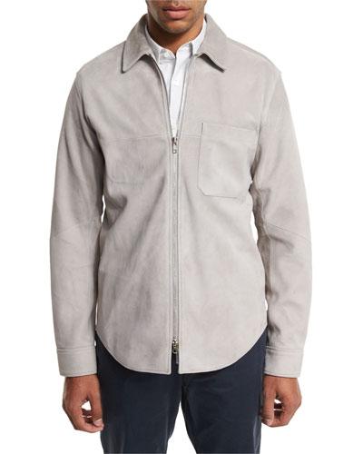 Neo Suede Zip-Front Shirt Jacket, Gray