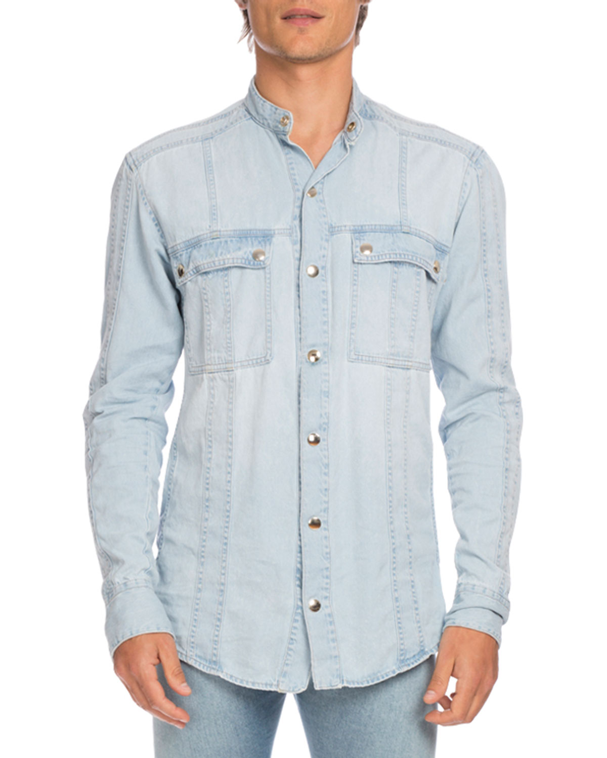 Denim Shirt with Beaded Arm Patch, Light Blue