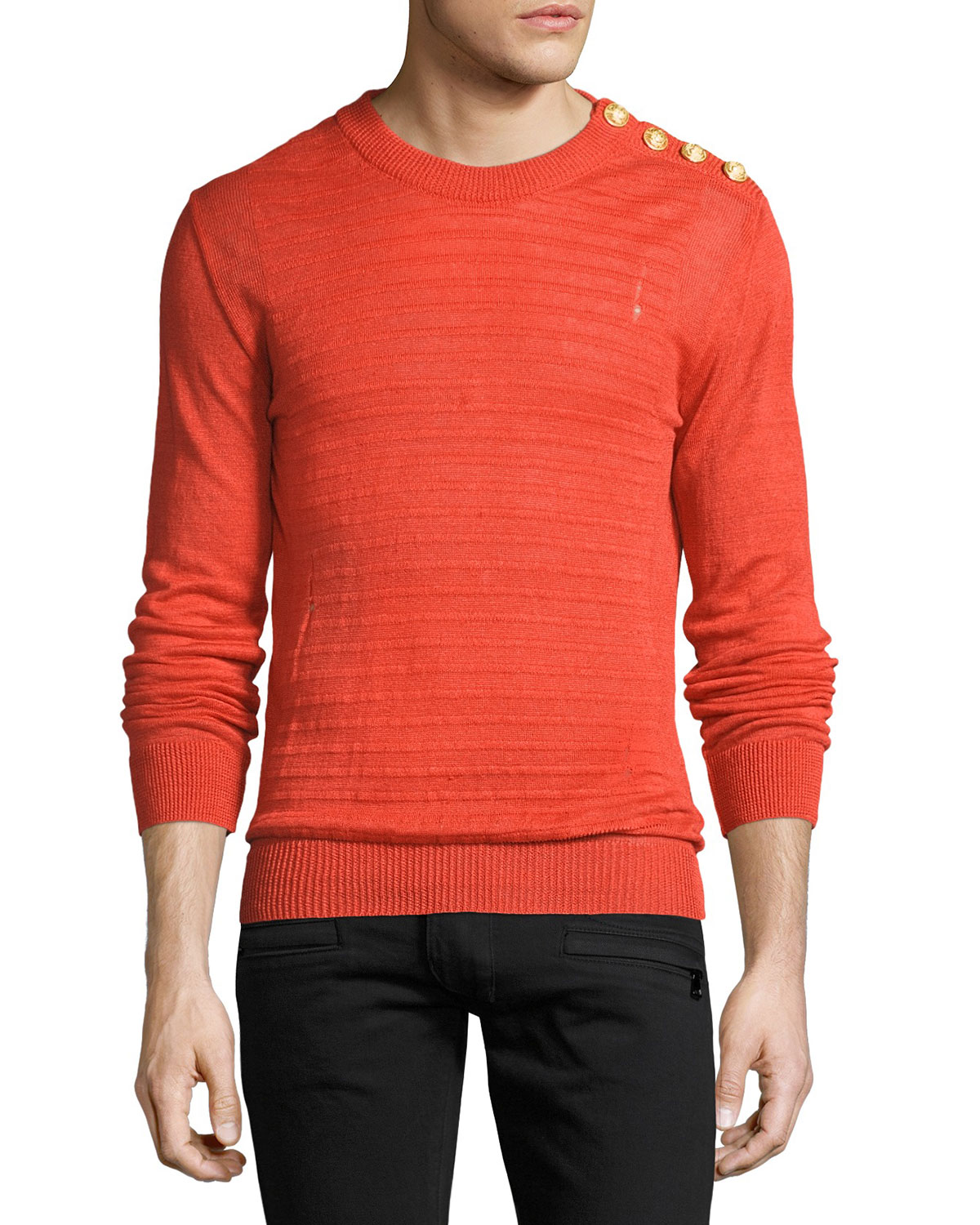 Ribbed Linen Button-Shoulder Sweater, Orange