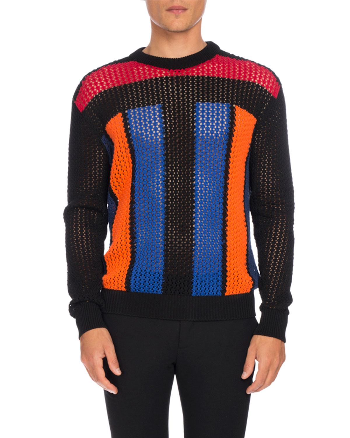 Colorblock Open-Knit Sweater, Multicolor