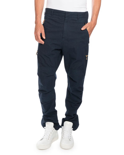 Cargo Pants with Golden Zippers, Navy