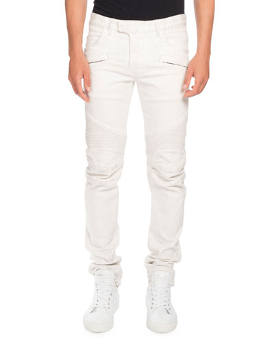 Skinny Stretch-Denim Biker Jeans, White