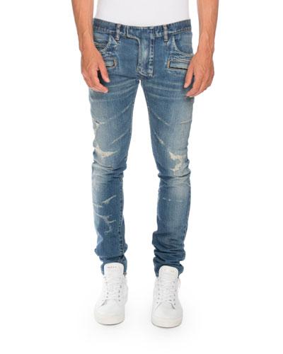 Distressed Skinny Denim Biker Jeans, Blue