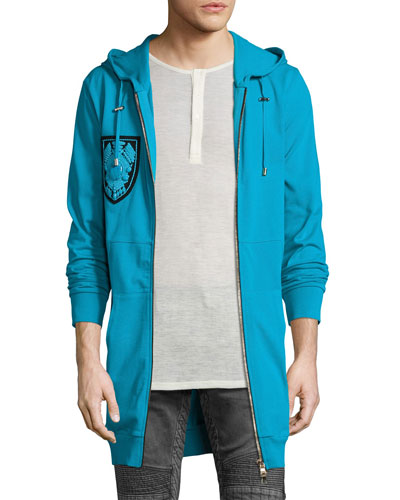 Embellished-Patch Long Zip-Front Hoodie, Turquoise