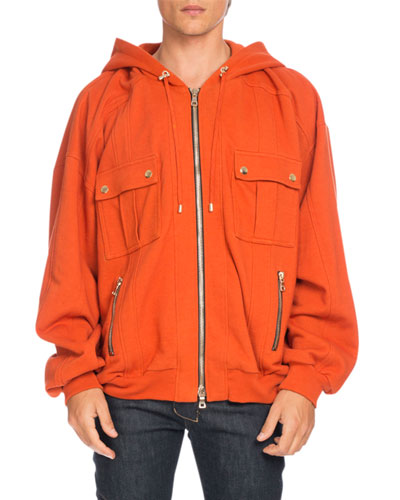 Oversized Utility Zip Hoodie, Orange