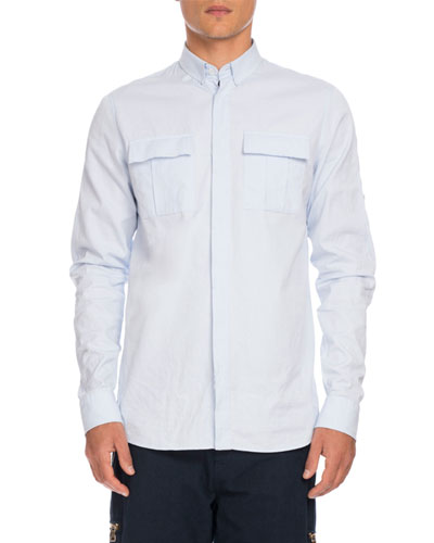 Utility-Pocket Woven Shirt, Light Blue