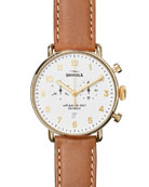 Men's 43mm Canfield Chronograph Watch, White/Tan