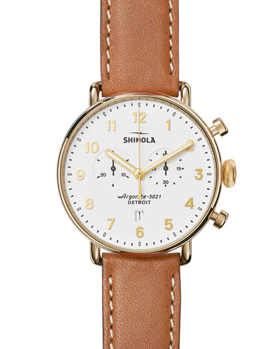 43mm Canfield Chronograph Watch, White/Tan