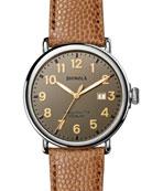 47mm Runwell Men's Watch, Dark Gray/Camel