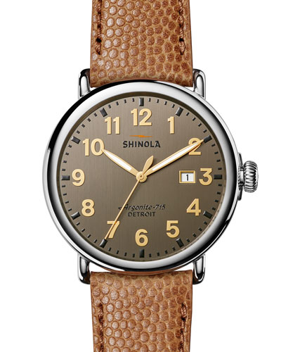 47mm Runwell Men's Chronograph Watch, Dark Gray/Camel