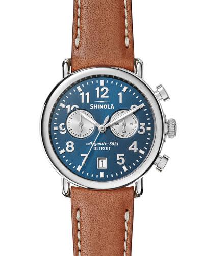 Men's 41mm Runwell Chronograph Watch, Midnight Blue/Tan