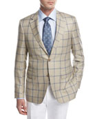 Windowpane Check Sport Coat, Tan/Blue