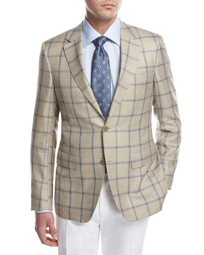 Windowpane Check Sport Coat, Tan/Blue