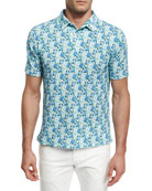 Floral Short-Sleeve Sport Shirt, Green/Blue
