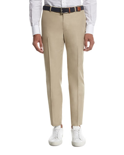 Isaia Sanita Cotton Trousers, Khaki
